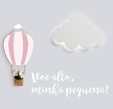 KIT BALÃO DE AR + LUMINÁRIA NUVEM + FRASE VOE ALTO MINHA PEQUENA + PENDURADOR NUVEM