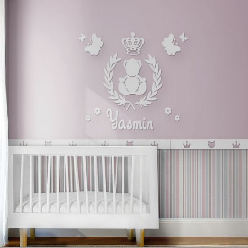 Painel decorativo para quarto de bebê - Tema Ursa Príncesa MDF