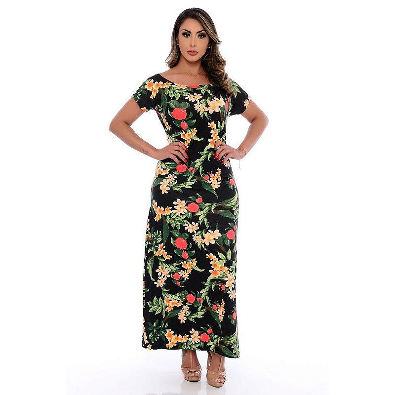 Vestido Longo Manga Curta Decote Redondo B'Bonnie Preto Floral
