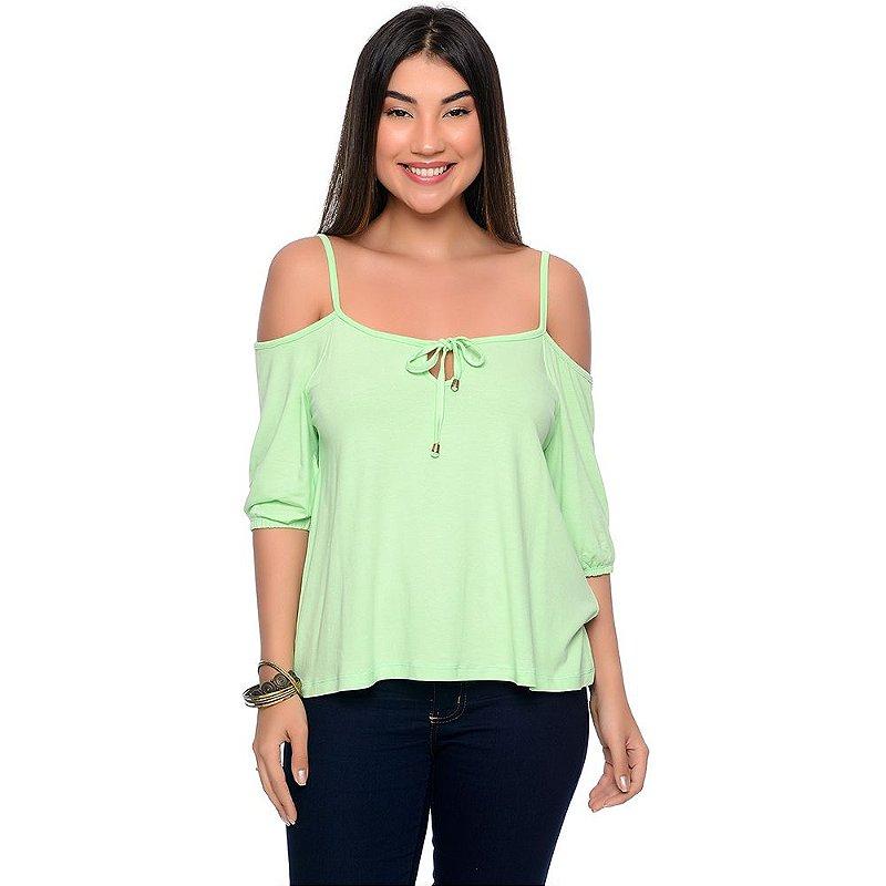 Blusa Ombro Vazado Mangas ¾ B'Bonnie Jordana Verde Pistache
