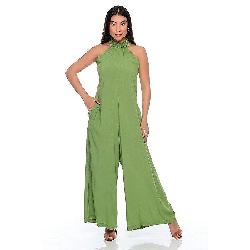Macacão Pantalona Gola Alta Sem Mangas B'Bonnie Louise Pistache