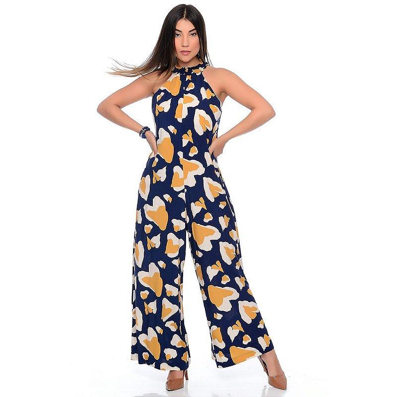 Macacão Pantalona Gola Alta Sem Mangas B'Bonnie Louise Cow Azul