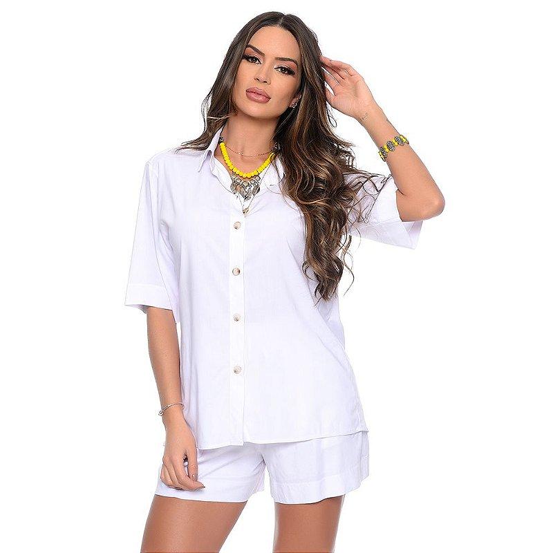 Conjunto Feminino de Camisa e Shorts em Viscose B'Bonnie Madonna Branco