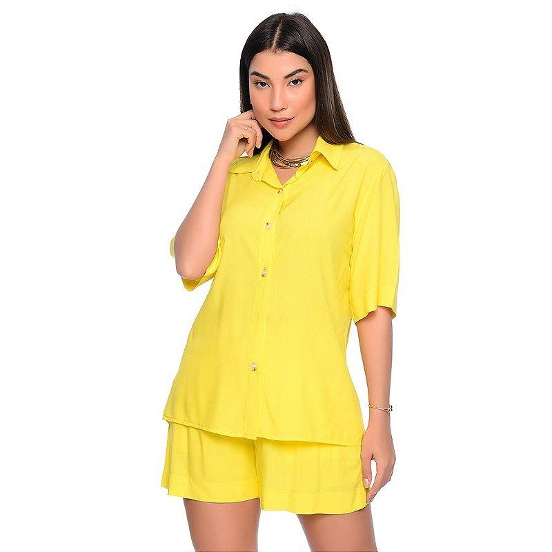 Conjunto Feminino de Camisa e Shorts em Viscose B'Bonnie Madonna Amarelo