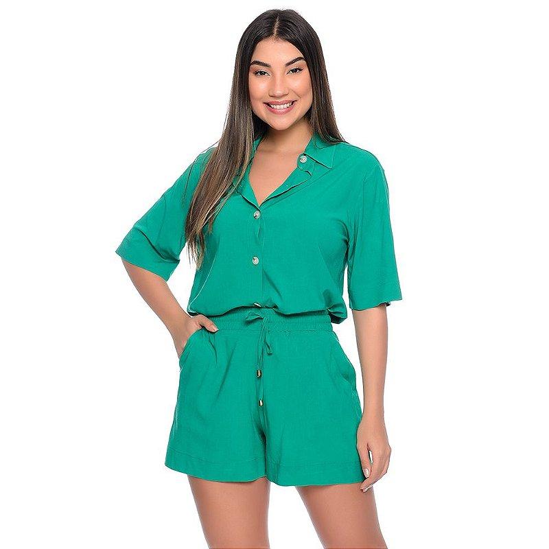 Conjunto Feminino de Camisa e Shorts em Viscose B'Bonnie Madonna Verde