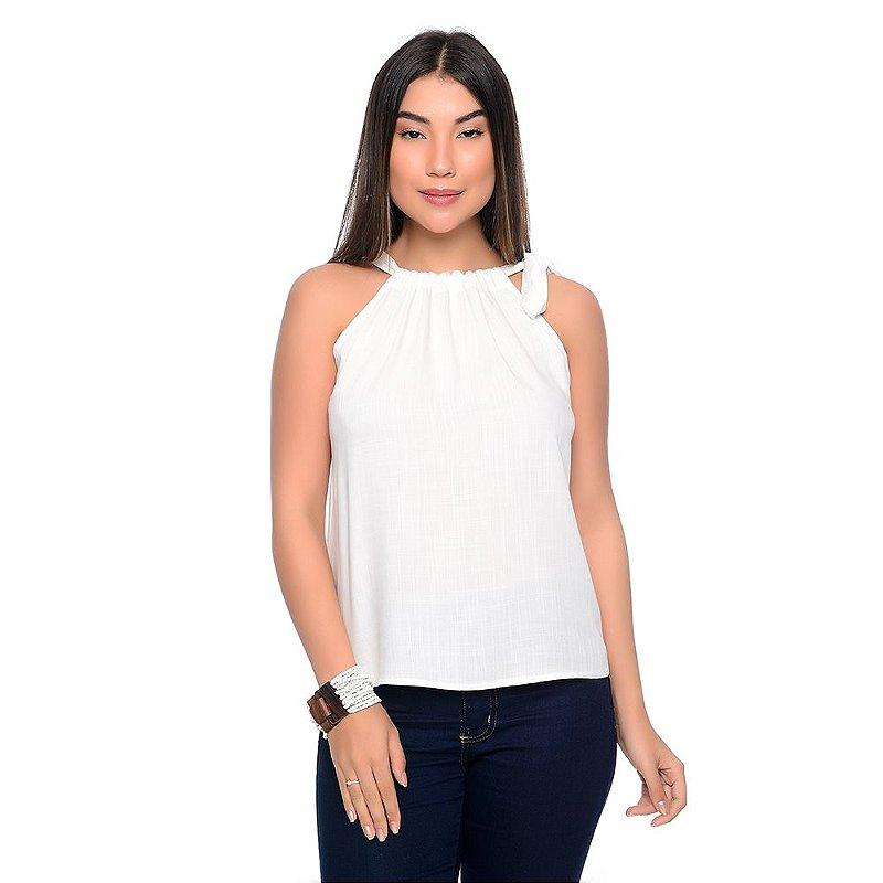 Blusa Regata Cava Americana Com Amarração B'Bonnie Karen Branco