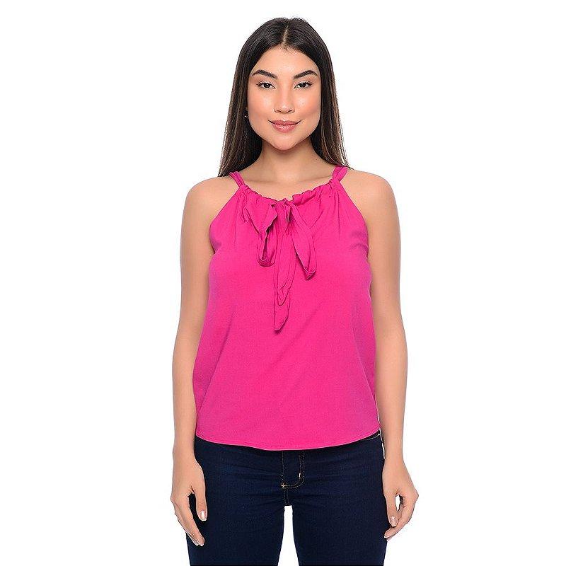 Blusa Regata Cava Americana Com Amarração B'Bonnie Karen Pink