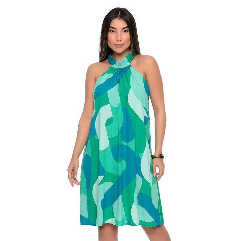Vestido Curto Trapézio Cava Americana B'Bonnie Cristine Estampa Jade