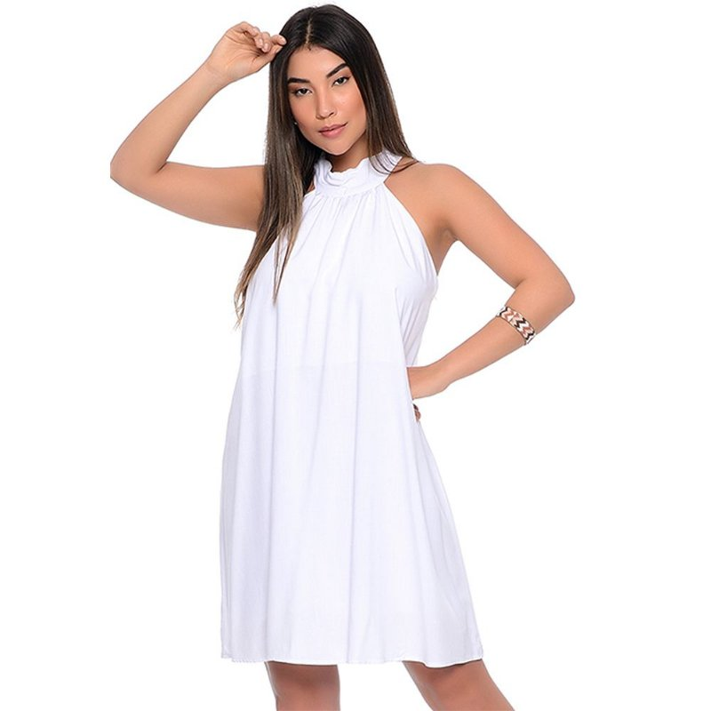 Vestido Curto Trapézio Cava Americana B'Bonnie Cristine Branco