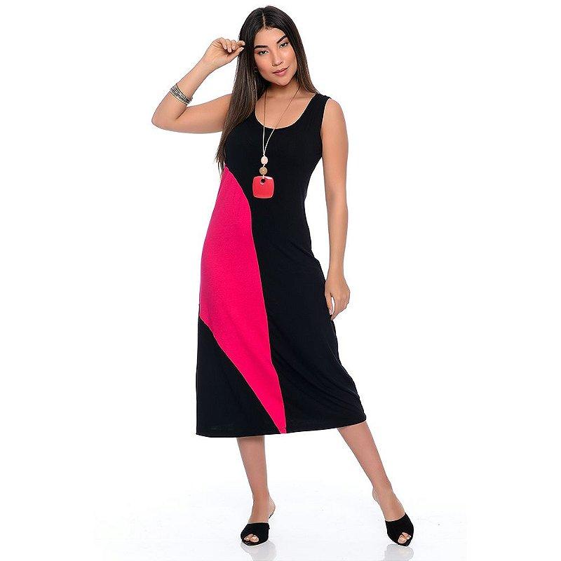 Vestido Midi Alça Larga Regata com Recorte B'Bonnie Lady Preto/Pink