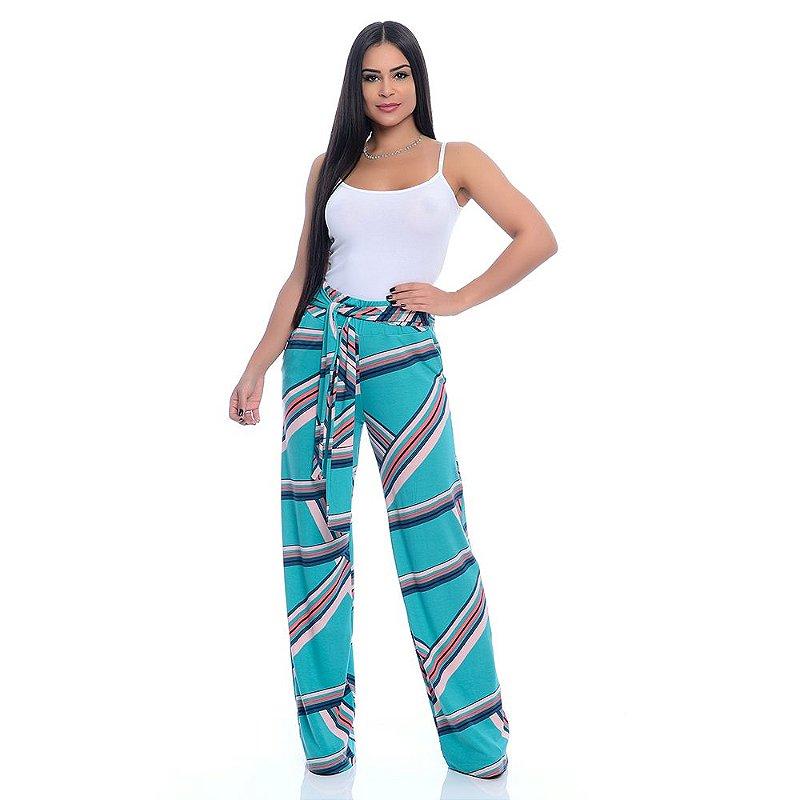 Calça Pantalona Cós largo Bolsos Laterais com Amarração B'Bonnie Sheila Estampada