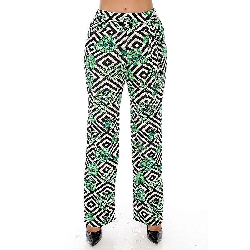 Calça Pantalona Cós largo Bolsos Laterais com Amarração B'Bonnie Estampada Verde