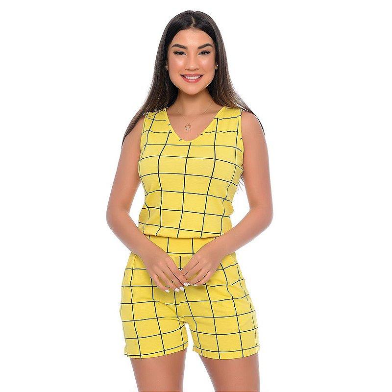 Macaquinho Feminino Alças Largas Bolsos e Cós na Cintura B'Bonnie Amarelo Xadrez