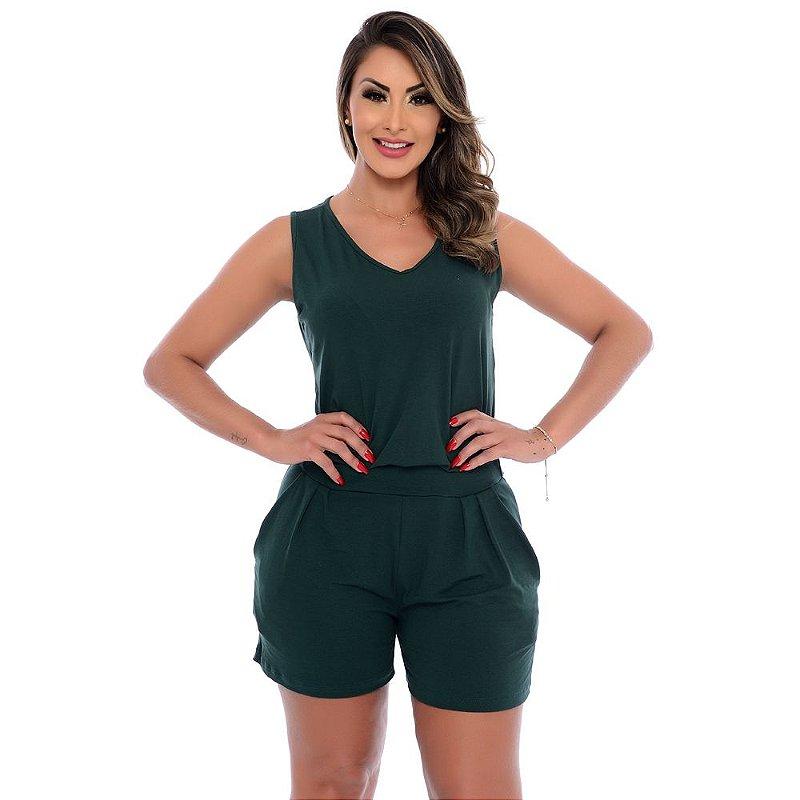 Macaquinho Feminino Alças Largas Bolsos e Cós na Cintura B'Bonnie Verde Militar