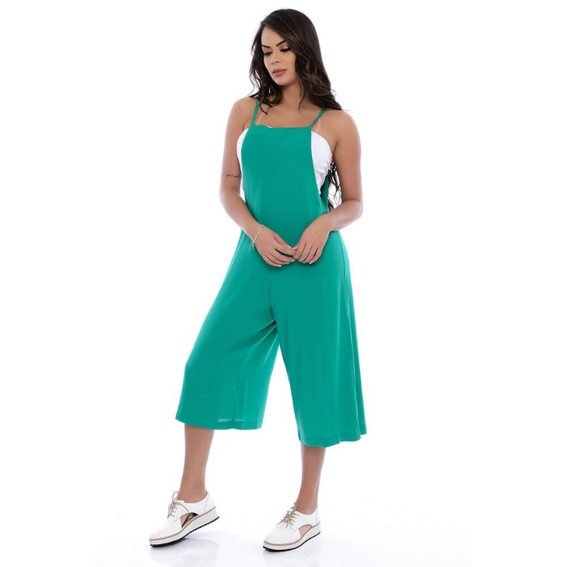 Jardineira Pantacourt de Alças e Bolsos Viscose B'Bonnie Verde Jade