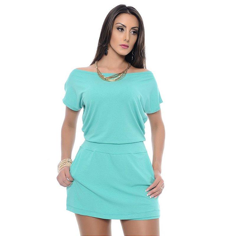 Macaquinho Feminino Shorts Saia Decote Canoa B'Bonnie Verde Jade