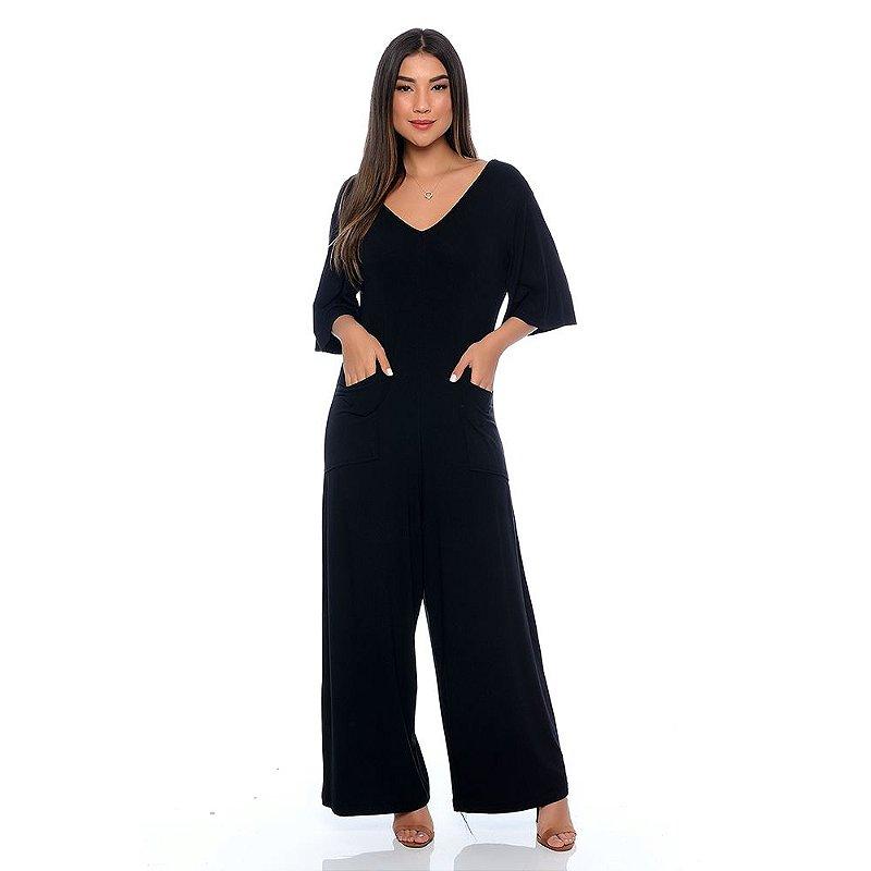 Macacão Pantalona Manga Curta Decote V e Bolsos B'Bonnie Preto