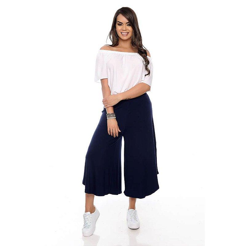 Calça Pantacourt B'Bonnie Noemi Azul Marinho