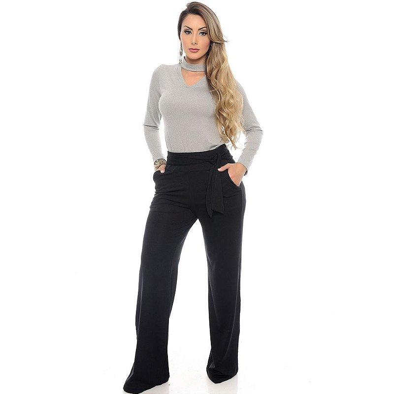 Calça Pantalona Cós largo Bolsos Laterais com Amarração B'Bonnie Preta
