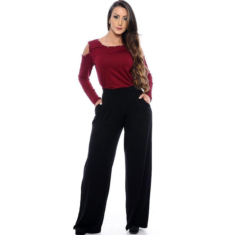 Calça Pantalona Cós Largo Bolsos Laterais e Pregas Frontais B'Bonnie Preta