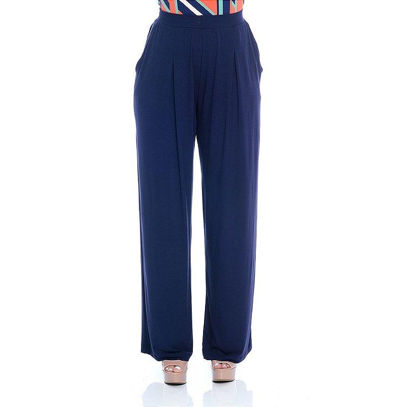 Calça Pantalona Cós Largo Bolsos Laterais e Pregas Frontais B'Bonnie Azul Marinho