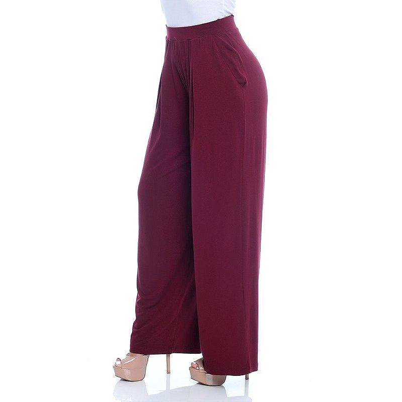 Calça Pantalona Cós Largo Bolsos Laterais e Pregas Frontais B'Bonnie Vinho