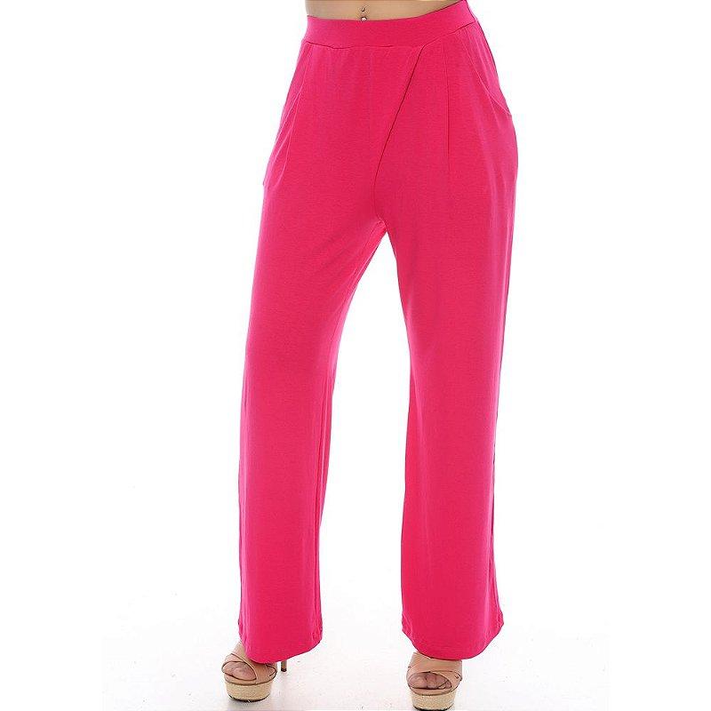 Calça Pantalona Bolsos Laterais e Detalhe Frontal B'Bonnie Pink