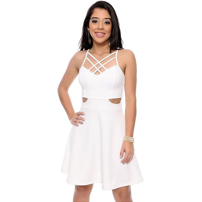 Vestido em Crepe Com Abertura na Cintura e Tiras Strappy B'Bonnie Off White