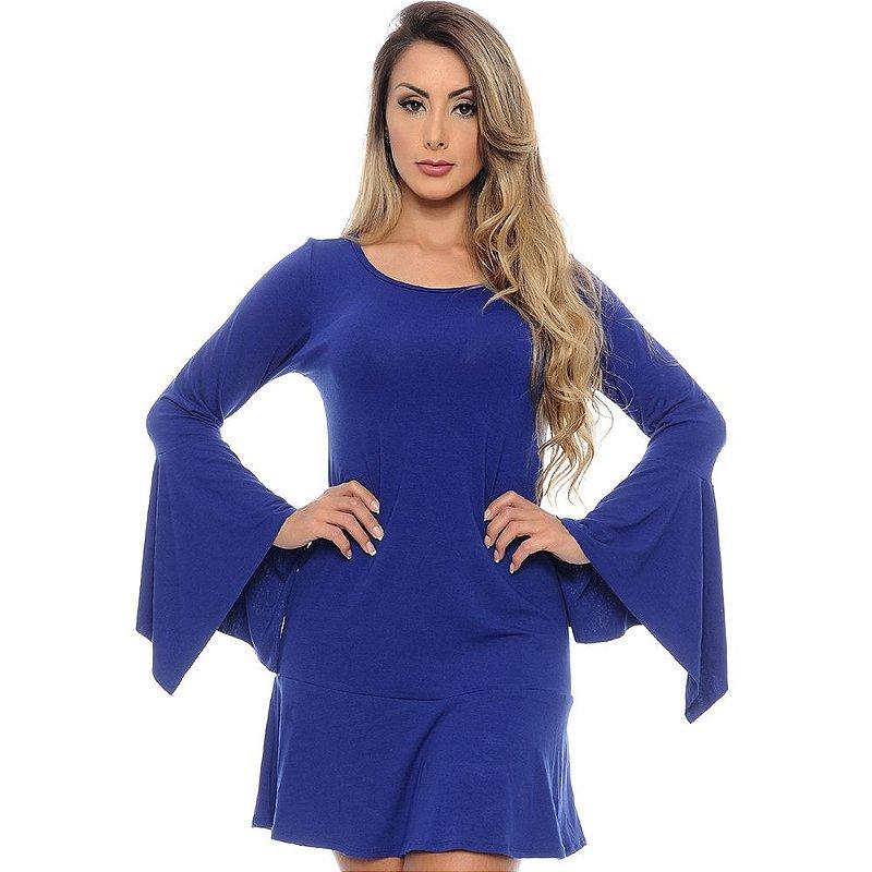 Vestido Curto Manga Longa Flare Com Pontas B'Bonnie Azul Royal