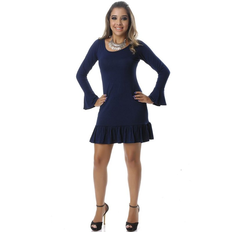 Vestido Curto Manga Longa e Barra com Badados B'Bonnie Azul Marinho