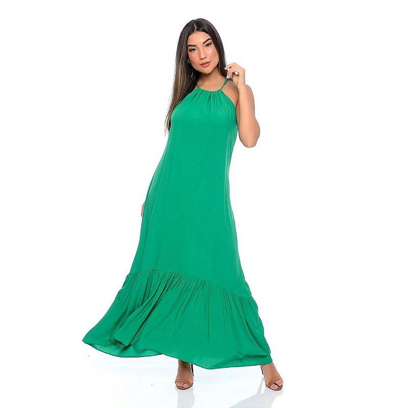 Vestido Longo Cava Americana com Babado na Barra B'Bonnie Verde