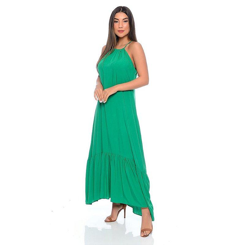Vestido Longo Viscose com Barrado B'Bonnie Marcia Verde
