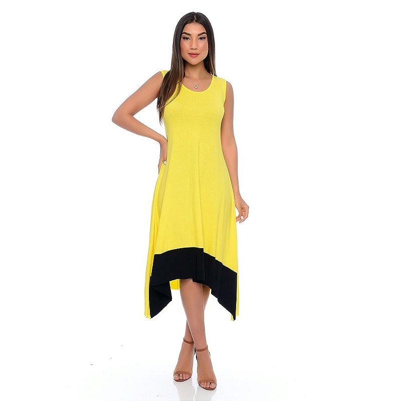 Vestido Midi com Pontas Barra Sem Mangas B'Bonnie Amarelo