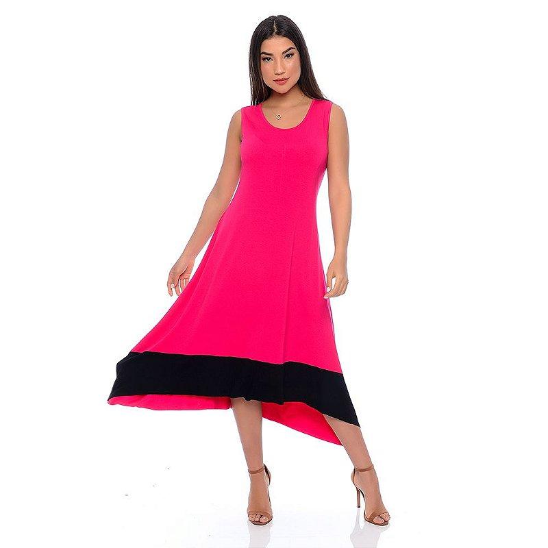 Vestido Assimétrico com Pontas B'Bonnie Nani Pink