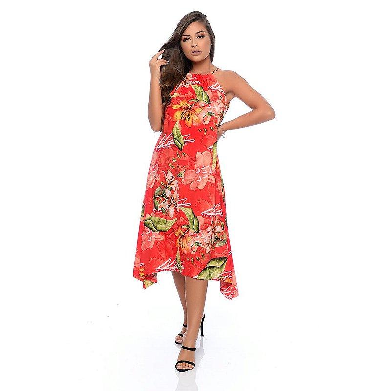 Vestido Midi Evasê Alça Regulável Pontas Alongadas Pontas B'Bonnie Estampado Vermelho