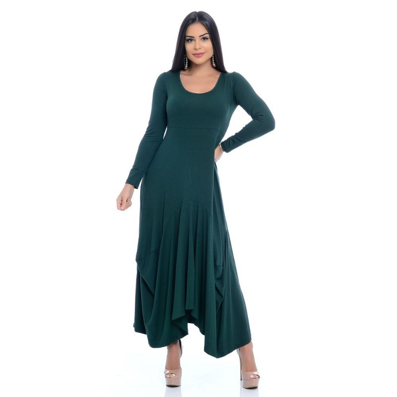 Vestido Longo de Pontas Assimétrico Manga Longa Decote Redondo B'Bonnie Verde Militar