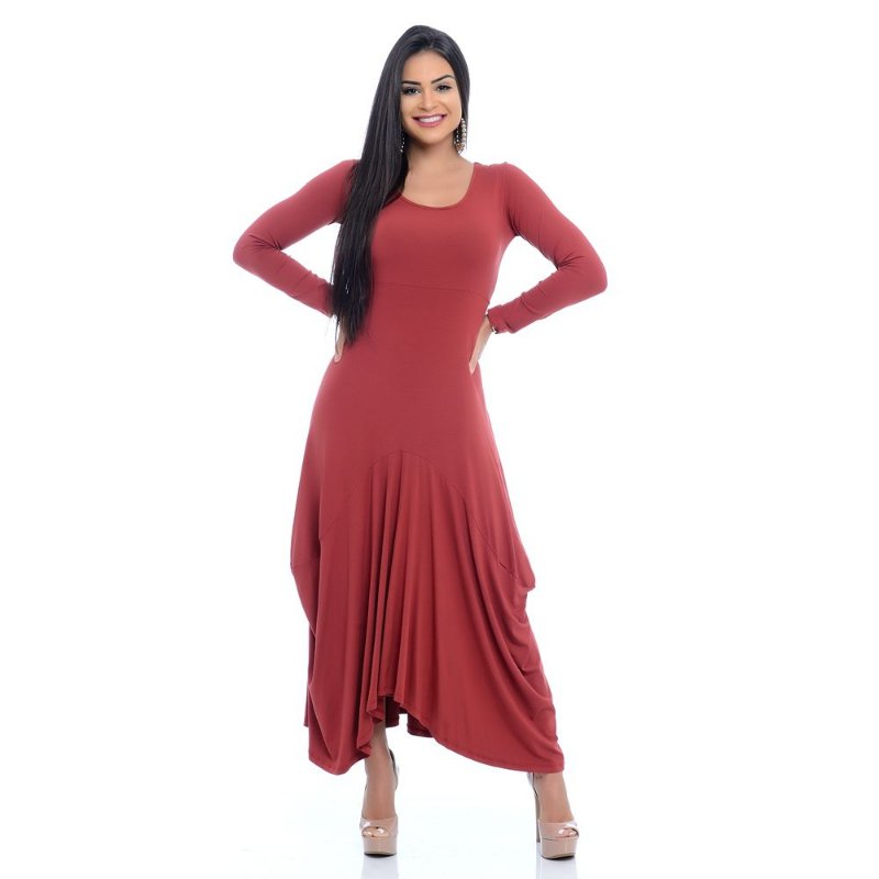 Vestido Longo de Pontas Assimétrico Manga Longa Decote Redondo B'Bonnie Terra
