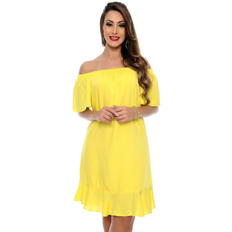 Vestido Ciganinha Elástico no Decote Babado na Barra B'Bonnie Amarelo