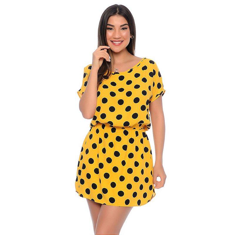 Vestido Curto Elástico na Cintura Manga Curta B'Bonnie Amarelo Poá