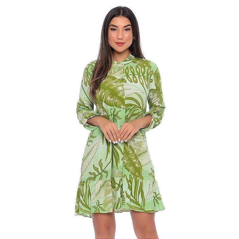 Vestido Chemise Curto Botões Manga Longa Babado na Barra B'Bonnie Estampa Verde