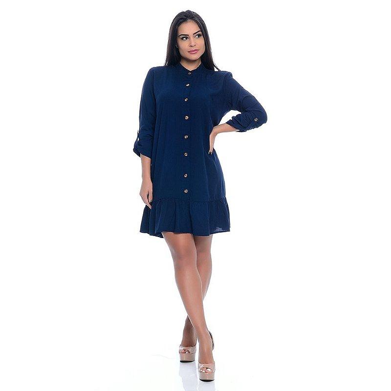 Vestido Chemise B'Bonnie Rebeca Azul Marinho