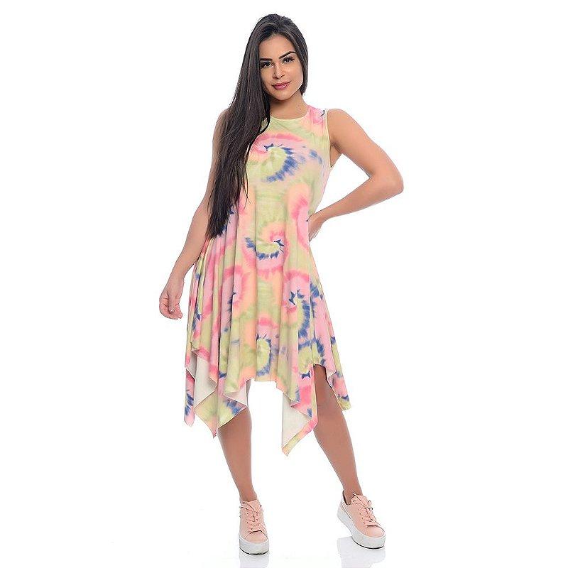 Vestido B'Bonnie Assimétrico Mabel Tie Dye Rosa