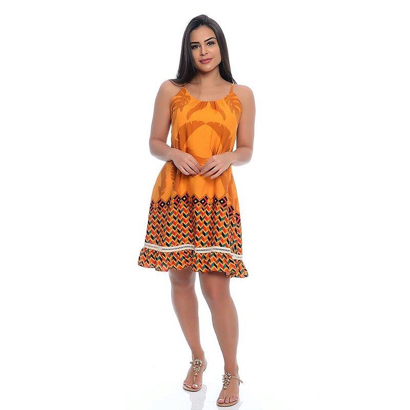 Vestido B'Bonnie Soltinho Yasmim Geométrico Laranja