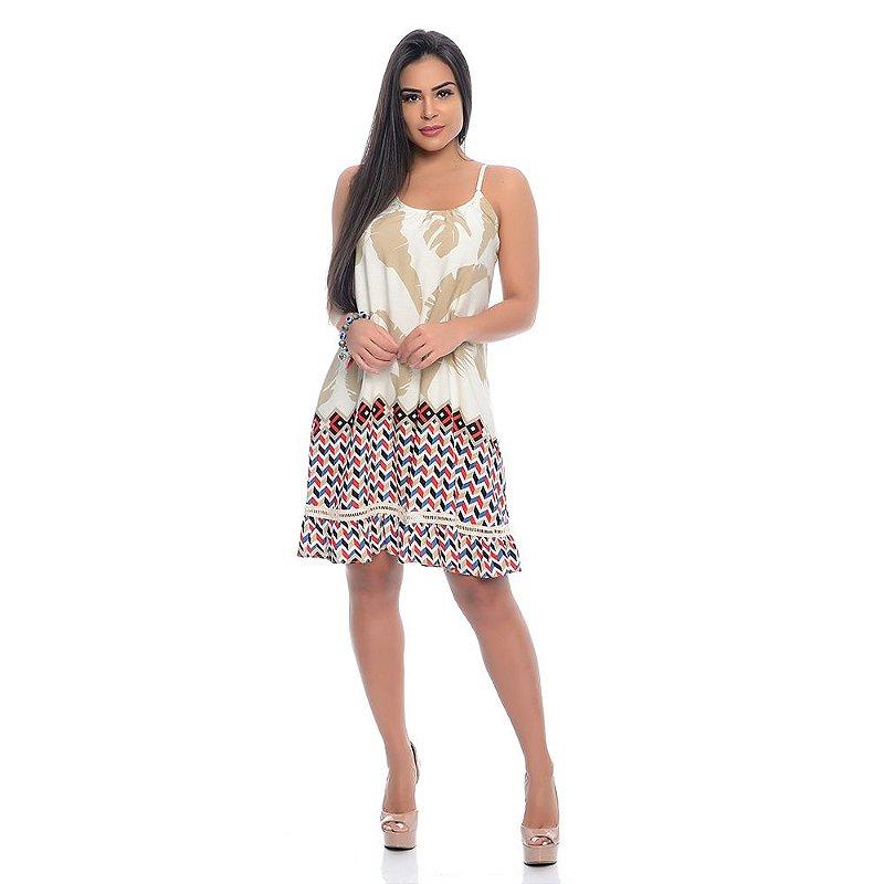 Vestido B'Bonnie Soltinho Yasmim Geométrico Bege