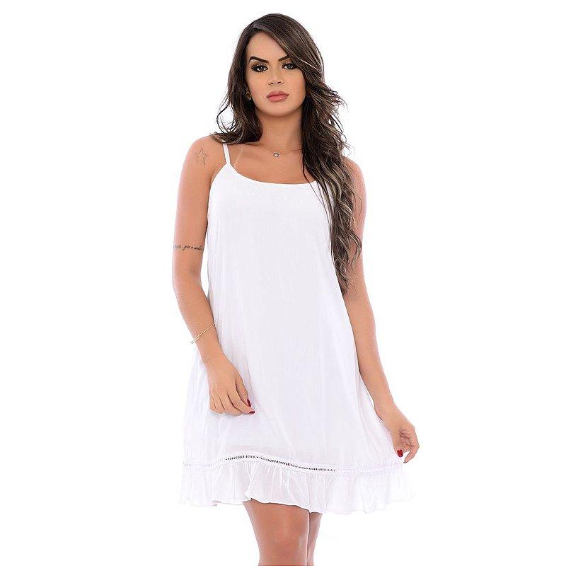 Vestido Curto Alças Reguláveis com Babado Barra B'Bonnie Branco