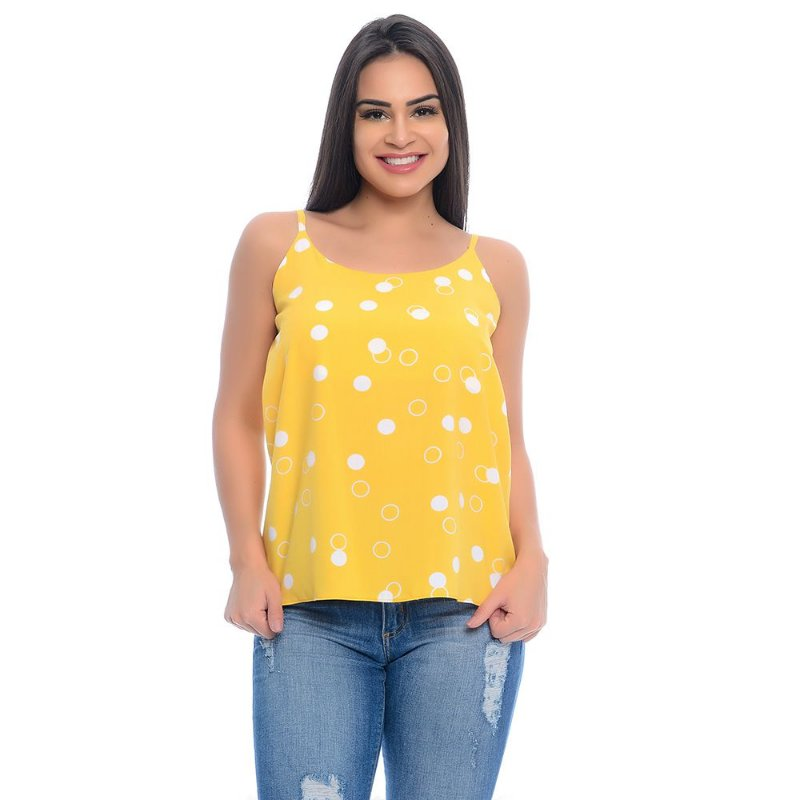 Blusa Regata Alças Reguláveis Viscose B'Bonnie Amarelo Poá