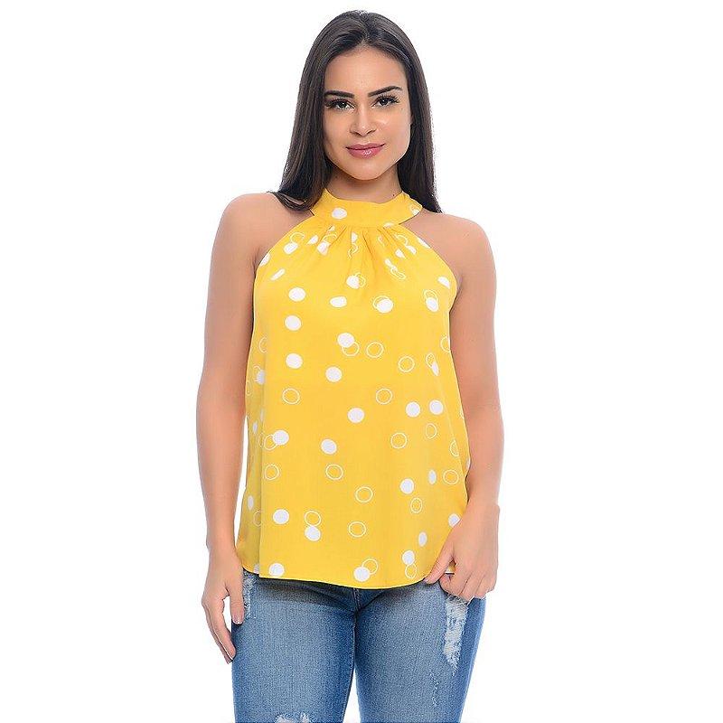 Blusa Cava Americana Gola Alta Amarração Costas B'Bonnie Amarelo Poá