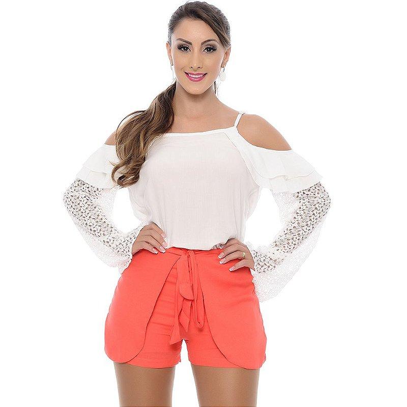 Shorts Saia Viscose Bolsos e Amarração B'Bonnie Coral