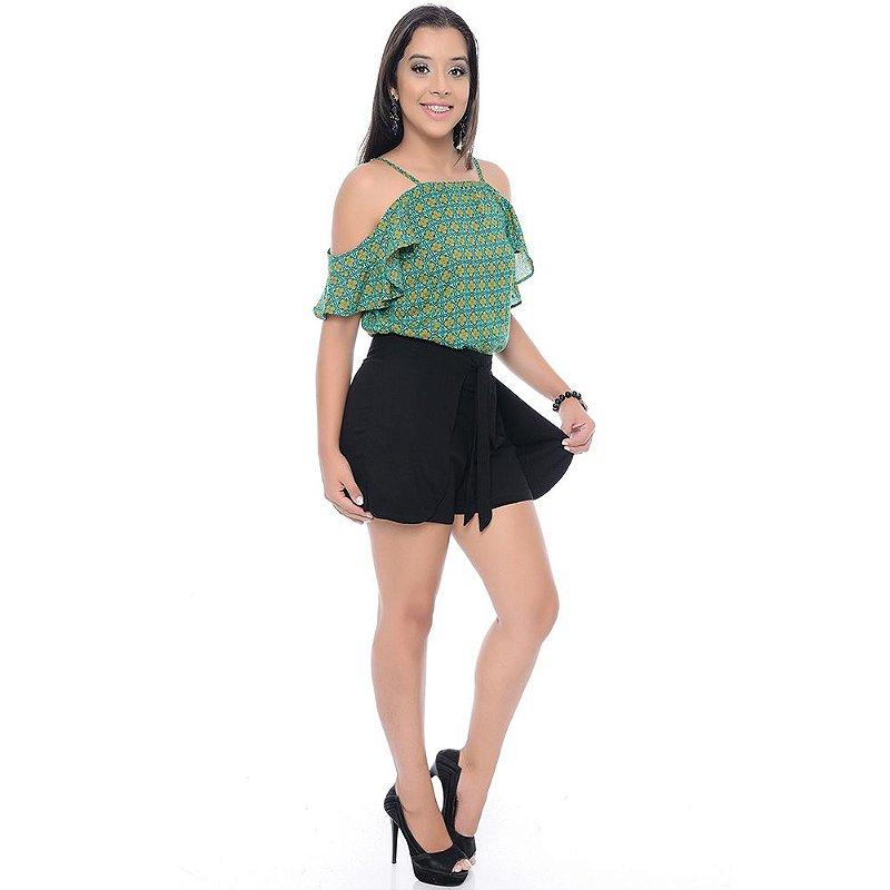Shorts Saia Viscose Bolsos e Amarração B'Bonnie Preto