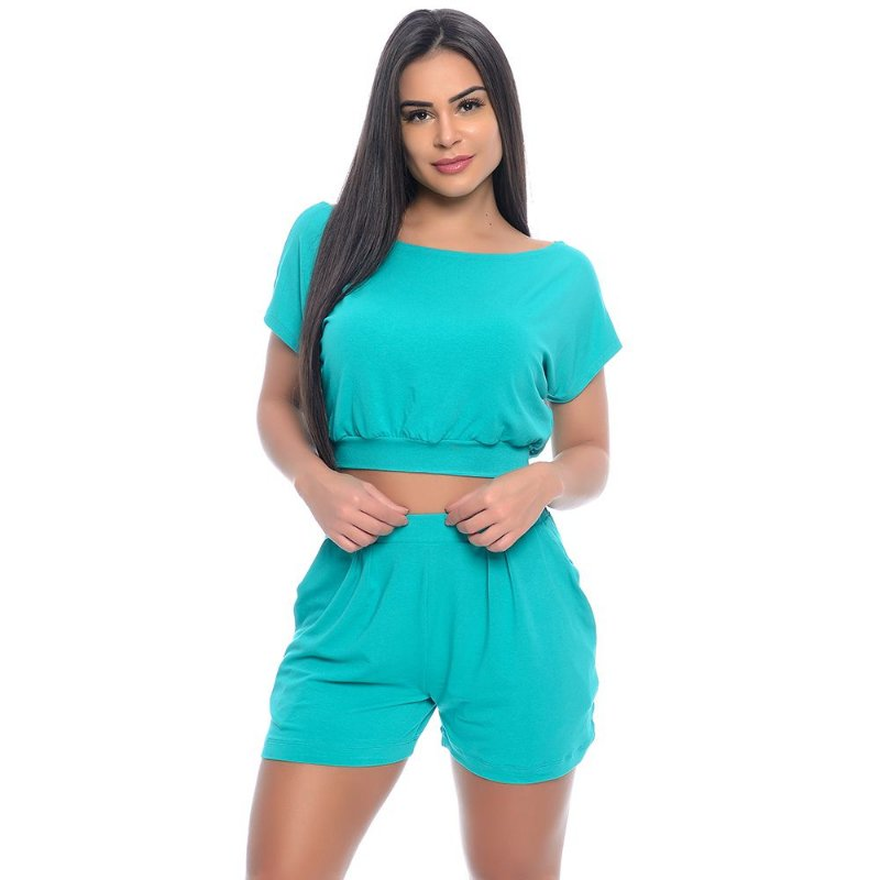 Conjunto Shorts e Cropped B'Bonnie Verde Jade